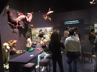 Illustrations made into stuffed animals and activities to engage visitors.