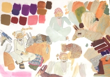 Testing different gouache colours and textures.