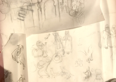 Transparencies and sketches to play with layout.